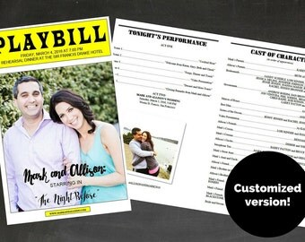 PLAYBILL Broadway Customized Wedding Ceremony, Rehearsal Dinner or Bar/Bat Mitzvah Program , 3 photos, 8.5 x 11 half fold, Digital File