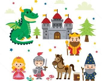 Fantasy Fairy Tale Clipart/princess/knight/dragon/wizard/king/castle