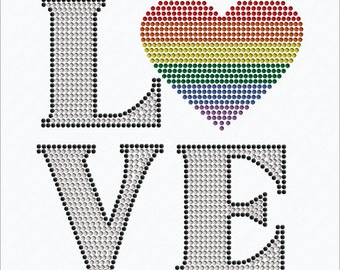 Love LGBTQ, Pulse-Orlando  iron on rhinestone transfer