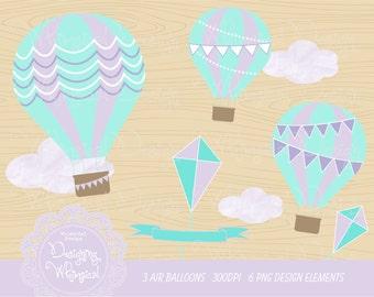 Digital clipart: Hot Air Balloon Graphic