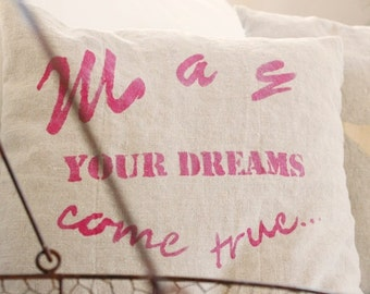 Pillow linen printed,linen cushion,cushion cover with print,handprinted cushion,pink print pillow,quote pillow,40x40cm,50x50 cm,linenpillow
