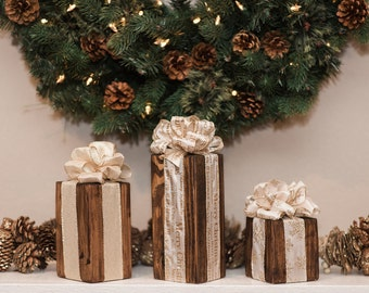 Set of 3 Wood Christmas Presents - Rustic Christmas - Christmas Decorations - Christmas Decor - Rustic Decor - Christmas centerpiece