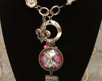 Funky, Candy Colored Necklace with Fun Santa Fe Charm Accent