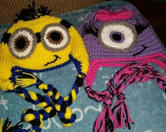 Minion hat with earflaps and braids