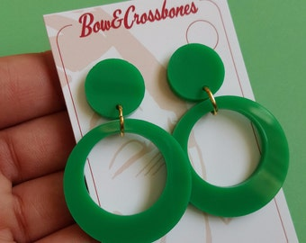 Green Hoop Earrings plain