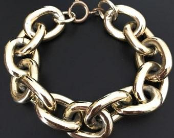 "Large Gold Tone Link Chain Bracelet 8"""