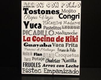 8x10 Cuban Food Wood Panel, Kitchen Decor, Comida Cubana, kitchen, Cuban food art, Made in the USA, wood panel, mounted photo