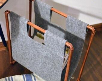 Copper magazine rack, newspaper storage - big