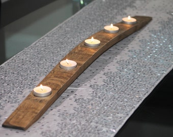 Reclaimed Oak Whisky Barrel Stave Tealight Holder (5 tealights)