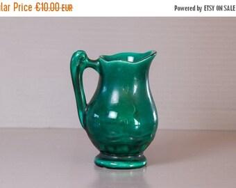 50% Off - Ceramic Creamer Vallauris | Green creamer | Vallauris pottery France | Studio Pottery Collectible.