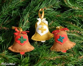 Pack 3 bells Christmas felt