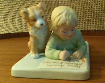 "Bessie Pease Gutmann Porcelain Figurine ""Asking For Trouble"",American Heritage Porcelain,Taiwan-Child with dog asking Santa for a cat!"