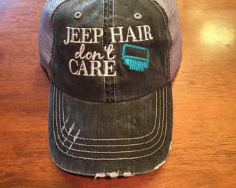 Jeep Hair Don't Care Trucker Hat - Hydro Blue Jeep Grill