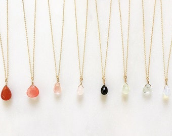 Gemstone Necklace, Gemstone Drop Pendant Necklace, Faceted Teardrop Briolette Gemstone Necklace, Hand Wire Wrapped Pendant Necklace,