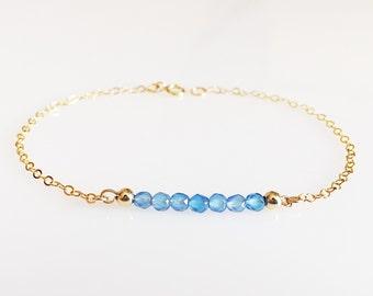Small Gemstone Bar Bracelet/ Small Beaded Bar Bracelet/ Semi Precious Gemstone Bar Bracelet/ Delicate Gemstone Bar Bracelet