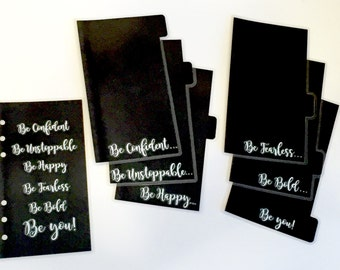 CUSTOM 6 Tab Black Personal Planner Dividers With Dashboard