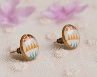 Spring Modern Minimal Pastels. Handmade Vintage Boho Glass Stud Earrings. Jewellery Gift for Women, Girlfriend, Wife, Fiancee, Girl.