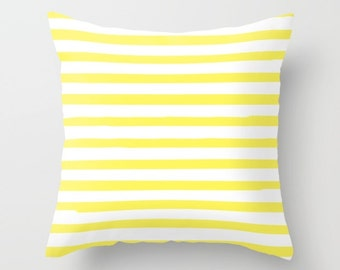 Kids Room Decor, Yellow Striped Pillow, Girls Bedroom, Boys Room Decor, Velveteen, Preppy Pillows, Canvas, 18x18 Pillow Cover, 22x22 Cushion