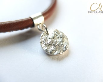 Nappa leather with solid, textured pendant, 925 silver bracelet