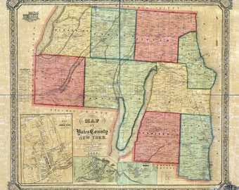 1855 Map of Yates County New York