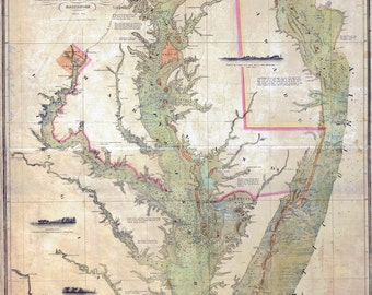 1840 Nautical Chart Map of the Chesapeake and Delaware Bays Maryland Virginia Delaware Washington DC