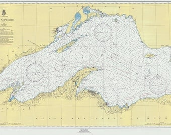 1950 Nautical Map of Lake Superior