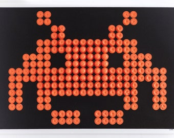 The space invaders-70x100cm - Art - canvas - recycled objects
