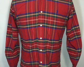 90's polo ralph lauren button down red plaid shirt mens size small