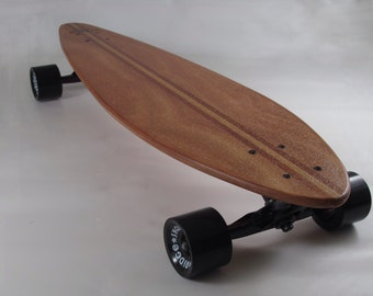 "Pintail Longboard Skateboard 35"" x 9.5"" handmade with Utile and Cedar inlays. Natural sand grip"