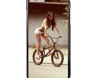 BMX Hottie Apple iPhone 4 5 6 Samsung Galaxy S6 S5 S4 S3 mini Case Cover Protector Bike Bikini Girl Sexi Babe Riding Bicycle Snap on Shell