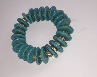 Turquoise Disc with Rhinestone Bracelet