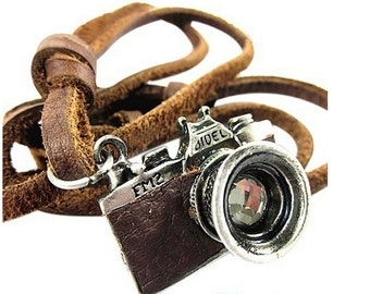 Camera charm. Genuine Leather .