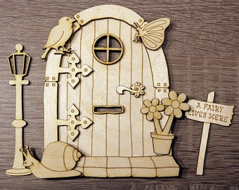 3D Wooden Fairy Sneal Sparrow Elf Door Plain Blank Craft Shapes Pixie Shelf Plywood 3D FD5