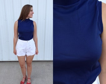 1970s deep blue sleeveless mock turtle neck / vintage mock neck / 1970s blouse / vintage shirt / navy top / small/medium
