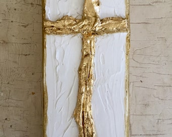 Gold Leaf Wood Cross
