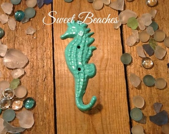 Cast Iron Seahorse Hook Beach Ocean Seaside Cabana Decor Coat  Towel Hook