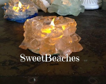 Beach Sea Glass  Candle Holder Home Cabana Decor  Beach Glass #58