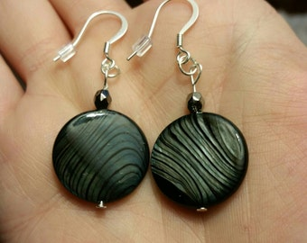 Silver and black Shell earrings Silver plated hooks