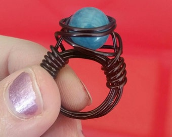 Aquamarine 10mm beaded wire wrapped ring in black wire