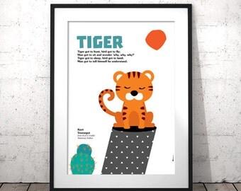 Tiger Art Print, Nursery Animal Prints, Kids Poster, Nursery Printables, Tiger Poster, Nursery Quotes, Kids Wall Art, INSTANT DOWNLOAD