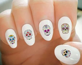 Nail Decals, Sugar Skull Halloween Nail Decals, Water Transfer Nail Decals, Nail Tattoo, Fashionable Nail Art, Custom Nail Decals
