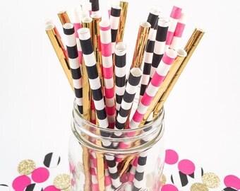 Kate Spade Paper Straws • Bridal Shower Decor • Baby Shower Decor • Bachelorette Party • Wedding Decor • Birthday Decor •