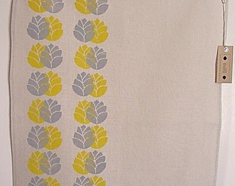 Tea Towel - Bumblebees, in mustard and grey