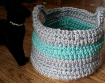 crochet basket/Large storage basket/crocheted basket/storage basket/blue basket/grey basket/large crocheted basket