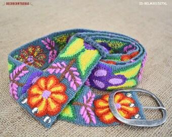 "Ladies belts S,M,L,XL - Gift for women - Colorful Belts ""Andean Festival""- Embroidery wool belts - Peruvian floral belts - Womens belts"