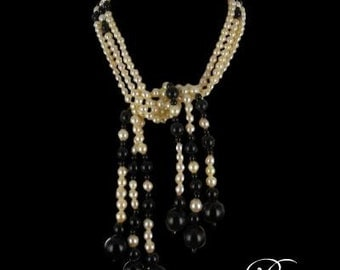 Necklace Pearl Onyx modern
