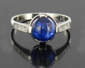 Cabochon sapphire ring white gold 18K modern princesses