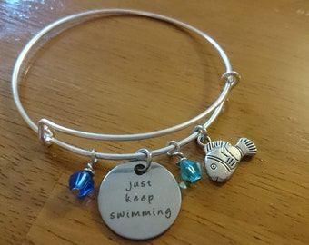Just keep swimming quote silver expandable bracelet/necklace/key ring options