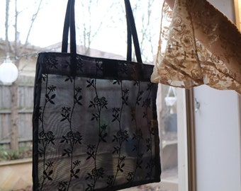 Mesh Flower Detail Handbag