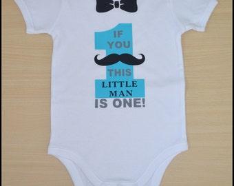 Little Man Moustache 1st Birthday Onesie